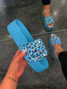 """SIZE Heel Height Approx: 1.8"""" True to Size Model wears a size 8.5 and is wearing a size 8.5 in this sandal. WIDE FOOT FRIENDLY DETAILS Rhinestone Detailed Strap Chunky Platform Sole Slip-On Entry Blue Leopard Slide Cute Flip Flops, Flip Flop Shoes, Nike Slippers, Summer Slippers, Acrylic Toes, Cute Slides, Aesthetic Shoes, Designer Sandals, Sneaker Boots"""