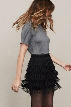 Oh, somebody's sassy. The Llama Skirt was pretty much made for shaking, and showing your legs of course. This is a high waist mini skirt with fringe tassels all around.https://www.thereformation.com/products/llama-skirt-black?utm_source=pinterest&utm_medium=organic&utm_campaign=PinterestOwnedPins