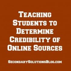 A lesson, complete with handout, on teaching the credibility of sources. Geared toward high school students, easily upgraded to underclassmen. This is not a link directly to this lesson, but put credibility in the search bar. Teaching Strategies, Teaching Writing, Student Teaching, Teaching Tips, Teaching English, Essay Writing, Persuasive Essays, Writing Help, Essay Prompts