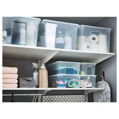 IKEA - SAMLA, Lid for box, L, transparent, The lid protects the contents and makes the box stackable. Recommended for indoor use only. Ikea Samla, Box Ikea, Laundry Station, Transparent Box, Ideas Para Organizar, Low Shelves, Bathroom Furniture, Storage Boxes, Lineup