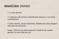 Classic FM's Dictionary definitions os musicians: your guide to the orchestra. Band Nerd, Manado, Piano Music, Music Music, Music Stuff, Reggae Music, Blues Music, Orchestra Humor, Musician Quotes