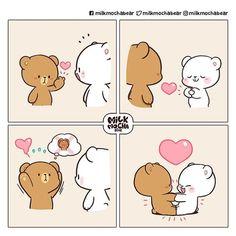 Cute Cartoon Pictures, Cute Love Pictures, Cute Love Cartoons, Cute Couple Comics, Cute Comics, Chibi Cat, Cute Chibi, Gif Mignon, Cute Bear Drawings