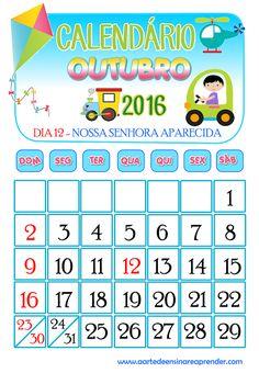 Calendário 2016 - Outubro