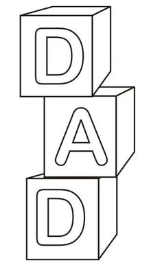 DAD Blocks Father's Day Coloring Pages