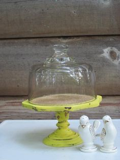 Upcycled Yellow Pedestal Cloche