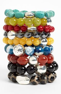 stretch bead bracelets...love these!  the large silver beads are fabulous!