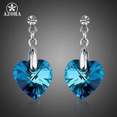 The Heart of the Ocean Platinum Plated Blue Stellux Austrian Crystal Drop Earrings TE0036