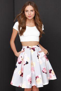 Keepsake Divide Light Grey Floral Print Midi Skirt at Lulus.com!  This is so beautiful.
