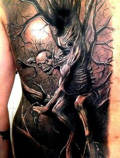 Fear of the dark tattoo..  This is so incredible .. scary but incredible.  #dearofthedark #darktattoo #fear