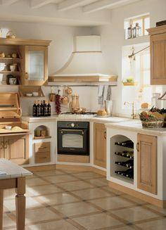 Landhaus, Küche, Landhausküche, Landhausstil, rustikal, weiß, weiße Küche, Holz, helles Holz, Holzküche, Bild, Idee; Foto: Scavolini