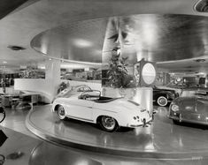 New York circa 1955. The Max Hoffman car showroom, with its motorized turntable, at 430 Park Avenue and 56th Street. Designed by Frank Lloyd Wright and recently demolished. Photo by Ezra Stoller.