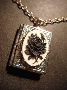 Black Rose Cameo Book Locket Necklace in Antique Silver