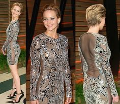 Jennifer Lawrence in a Tom Ford mirror-detailed dress from the spring 2014 runway