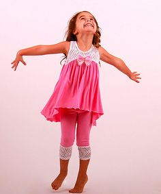 Loving this White & Pink Lace Tunic & Leggings - Toddler & Girls on #zulily! #zulilyfinds