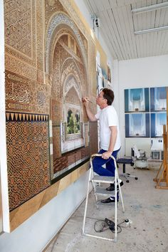 How Painter Ben Johnson Takes Architectural Representation to Incredible Levels of Realism,Painting 'Mirador de Lindaraja' (2013, acrylic on canvas, 87 x 87in / 220 x 220cm). Image © Ben Johnson