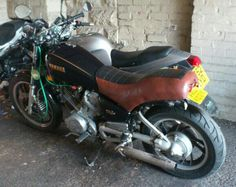 My 'Smoovie', 1983 Yamaha XV 750, nxt to his younger sister 'Kitten'.