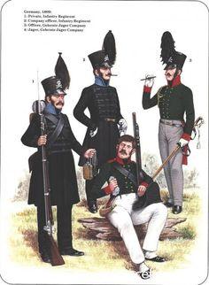 Ducato di Brunswick - Germania 1809 - 1) Soldato, Reggimento Fanteria - 2) Ufficiale di Compagnia, Reggimento Fanteria - 3) Ufficiale, Compagnia Gelernte-Jaeger 4) Cacciatore, Compagnia Gelernte-Jaeger