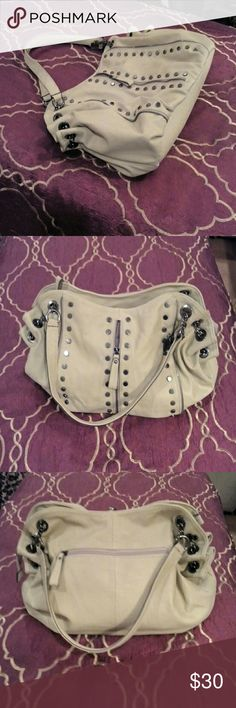 V Couture by Kooba Tan vegan leather, with grey studded accents chain accent, matching handles, rear zipper pocket, interior zipper pocket & organizer, lots of space... Like new. Kooba Bags Hobos