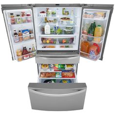 Load Up on Good Groceries with the Kenmore Elite 72483 Stainless Steel Refrigerator The Kenmore Elite 72489 4 Door Refrigerator, Bottom Freezer Refrigerator, Kenmore Refrigerator, Stainless Steel Refrigerator, Extra Storage Space, Storage Spaces, Yard Water Fountains, Apartment Size Refrigerator, Pull Out Pantry