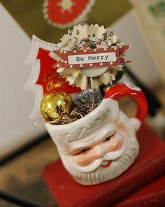 An adorable mug of Christmas craft festiveness. #Christmas #santa #mug #crafts #scrapbooking #decor #decorations #vintage #Jenni_Bowlin