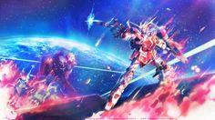 blue earth fire gun mecha mobile suit gundam mobile suit gundam unicorn pink planet robot rx-0 unicorn gundam space stars weapon