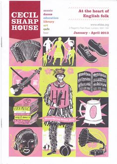 Poster by Alice Pattullo, illustration, screen print, design, layout, colour, museum, english folk, drawing