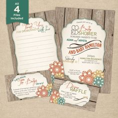 Baby shower invitation kit Fall Co-ed by PaisleyDayneDesign