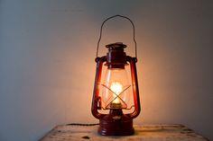 Vintage Kerosene Lantern Lamp  Red Kerosene by whiskyginger