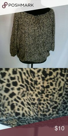 Gently used Leopard print top, 100 % rayon, XL Comfy top with elastic around bottom and top, 3/4 sleaves . Pure Energy Tops Blouses