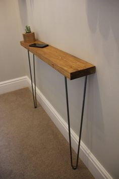 Rustic Console Table Height - Narrow - Hairpin Legs - Rustic Wooden Hallway Table - Rustic Shelf - Fast Shipping - Chunky Rustic Console Table Height Narrow Hairpin Legs image 2 Source by janleuthold Rustic Hallway Table, Rustic Console Tables, Narrow Console Table, Entryway Tables, Rustic Table, Decoration Entree, Small Hallways, Hairpin Legs, Rustic Shelves