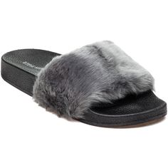 STEVE MADDEN Softey Grey Fluffy Slide ($50) ❤ liked on Polyvore featuring shoes, sandals, grey, steve madden footwear, steve madden, grey shoes, gray shoes and rubber sole shoes