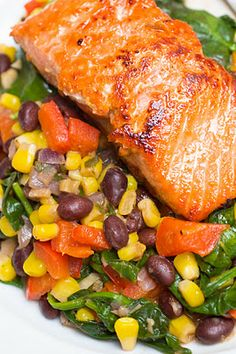 Photo by Celeste WardLime-Honey Glazed Salmon with Warm Black Bean & Corn Salad Today, I bring you a beautiful dish that tastes just as pretty as it looks. It makes a beautiful presentation and takes minimal time to put together. Dash Diet Recipes, Salmon Recipes, Fish Recipes, Seafood Recipes, Cooking Recipes, Healthy Recipes, Healthy Meals, Honey Salmon, Glazed Salmon