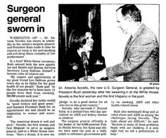 "Article about Surgeon General Antonia Novello being sworn in, published in the Trenton Evening Times newspaper (Trenton, New Jersey), 10 March 1990. Read more on the GenealogyBank blog: ""Antonia Novello: First Woman, and Hispanic, Surgeon General."" http://blog.genealogybank.com/antonia-novello-first-woman-and-hispanic-surgeon-general.html"