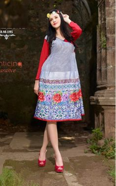 Greyish Aleena Kurti With Red Sleeves - Shop Online - Online Shopping for Women Western Dresses For Girl, Western Dresses Online, Western Wear, Party Wear Dresses, Online Shopping For Women, Designer Dresses, Girls Dresses, The Incredibles, Fashion Outfits