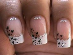 Nail Art Designs With French Manicure Heart Love