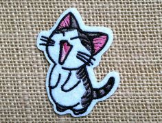 """Lindo gatito plancha sobre el parche para las chaquetas. Kawaii Neko gato parche 2 1/4"""" lindo gatito bordado apliques parches Anime"""