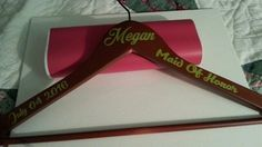 Maple Handcrafted personalized wedding hangers for bride / bridesmaids. Name, title, date.
