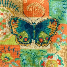 Butterfly Pattern Needlepoint Kit-SHIPS FREE