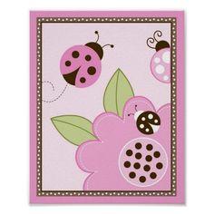 Mocha Ladybug Flower Nursery Wall Art Print