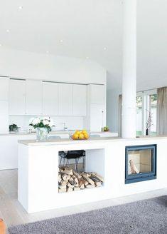 haus w. - offene, moderne küche mit kochinsel und essbereich, Hause ideen