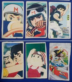 Speed Racer Japanese Menko Cards toy / Mach Go Go Go - CAR racing anime / vintage antique old art card Speed Racer Cartoon, Toy Car Racing, Nostalgic Music, Japanese Poster Design, Fast Sports Cars, Cars Characters, Cartoon Toys, Old Anime, Cute Cars