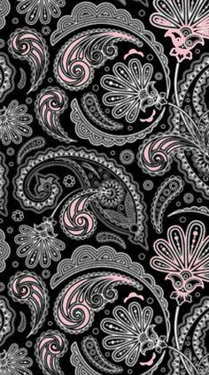 Pink and black wallpaper, black phone wallpaper, paisley wallpaper, cellp. Paisley Wallpaper, Black Wallpaper, Pattern Wallpaper, Paisley Color, Paisley Design, Cool Backgrounds, Wallpaper Backgrounds, Wallpaper Ideas, Phone Backgrounds