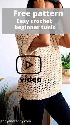 Crochet Poncho Patterns, Crochet Tunic, Crochet Clothes, Crochet Stitches, Crochet Summer Tops, Crochet Tops, Free Crochet, Beginner Crochet Tutorial, Crochet For Beginners
