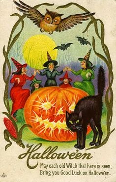 Featured above is a darling Vintage Postcard showing a Black Cat in a red Witch Hat. Description from pinterest.com. I searched for this on bing.com/images