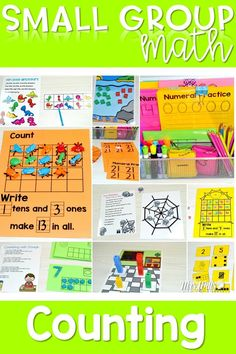 Small Group Math activities for kindergarten.  These lessons and activities focus on counting and number sense.  Differentiated lessons too!