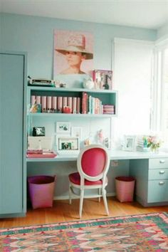 """Tiffany blue and pink Audrey themed home office""  Small office and mini library space"