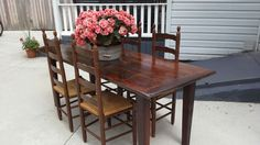 Farmers table with dark stained reclaimed barnwood top from my workshop Coldwater Primitives