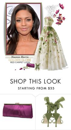 """Naomie Harris"" by mcheffer ❤ liked on Polyvore featuring Retrò, Gunne Sax By Jessica McClintock, Alberta Ferretti and GoldenGlobes"