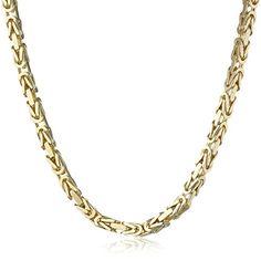 Men's 14k Yellow Gold 2.6mm Square Byzantine Chain Neckla...
