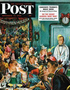 Midnight and Nobody to Kiss, art by Constantin Alajalov.  Saturday Evening Post cover December 31, 1949.